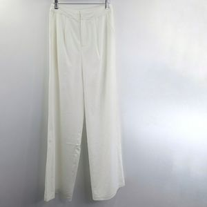 Anthro Endless Rose White Wide Leg Trousers NEW